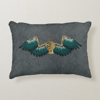Steampunk Mechanical Wings Grey Decorative Cushion