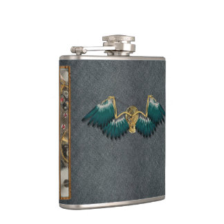 Steampunk Mechanical Wings Grey Hip Flask