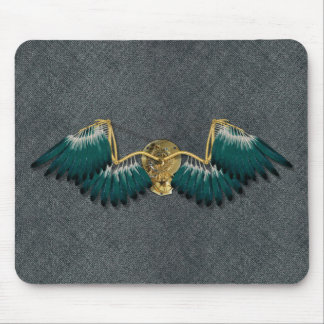 Steampunk Mechanical Wings Grey Mouse Pad