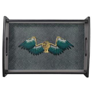 Steampunk Mechanical Wings Grey Serving Tray