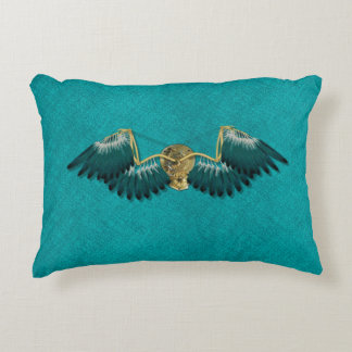 Steampunk Mechanical Wings Teal Decorative Cushion