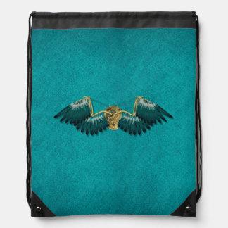 Steampunk Mechanical Wings Teal Drawstring Bag