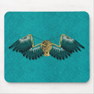 Steampunk Mechanical Wings Teal Mouse Pad