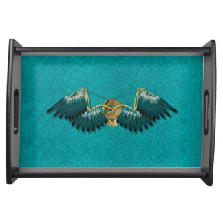 Steampunk Mechanical Wings Teal Serving Tray