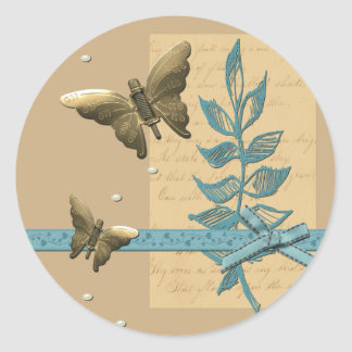 Steampunk Metal Butterfly Round Sticker