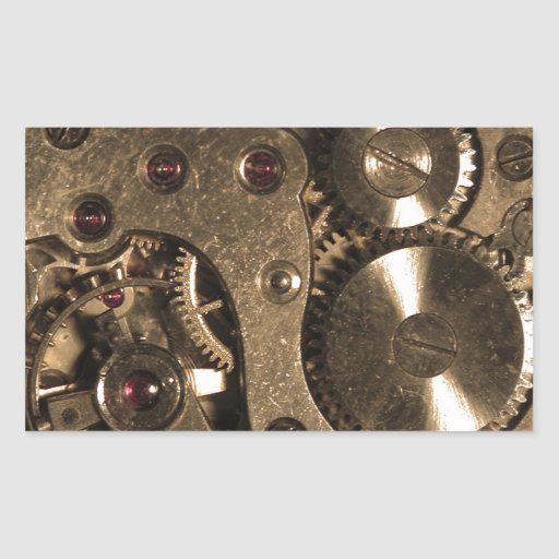 Steampunk Metal Gears Rectangle Stickers