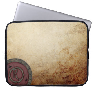 Steampunk Monogrammed R Electronics Bag Port Wine Computer Sleeve