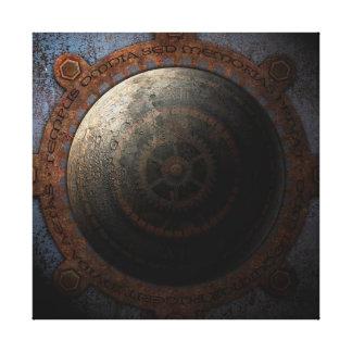 Steampunk Moon Clock Time Metal Gears Canvas Print