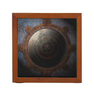 Steampunk Moon Clock Time Metal Gears Desk Organiser