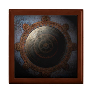Steampunk Moon Clock Time Metal Gears Large Square Gift Box