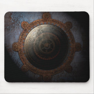 Steampunk Moon Clock Time Metal Gears Mouse Pad