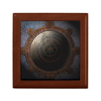 Steampunk Moon Clock Time Metal Gears Small Square Gift Box