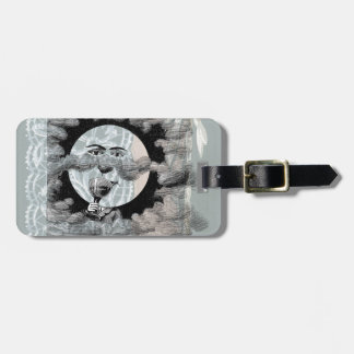 Steampunk Moon Drinking Champagne Clouds Luggage Tag