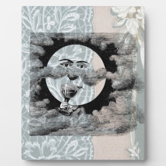 Steampunk Moon Drinking Champagne Clouds Photo Plaque