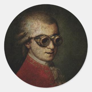 Steampunk Mozart Classic Round Sticker