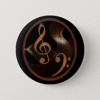 Steampunk Music Design Button pin