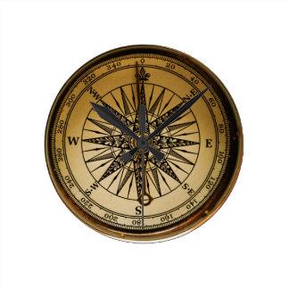 Steampunk Nostalgic Old Brass Compass Round Clock