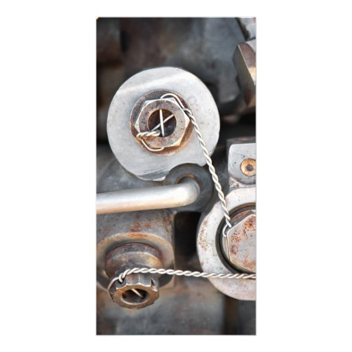 Steampunk nuts and bolts with wire personalized photo card