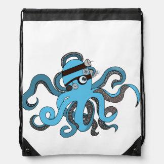 Steampunk octopus drawstring backpack
