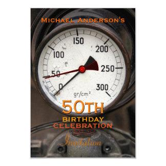 Steampunk Old Manometer 50th Birthday Celebration Card