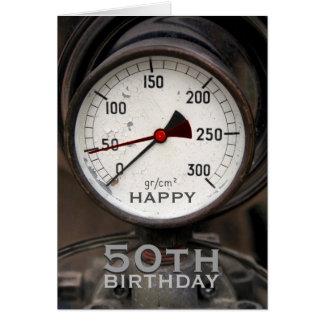 Steampunk Old Manometer 50th Birthday Greeting Card