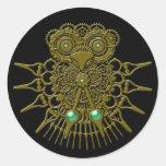 Steampunk Owl Classic Round Sticker
