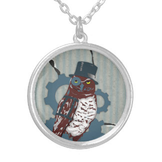 Steampunk Owl on Ripped, Dirty Mattress Necklace