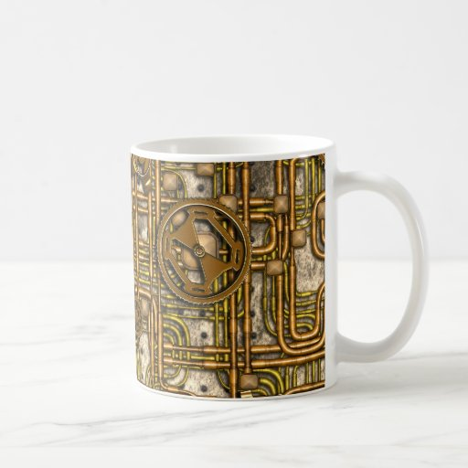 Steampunk Panel - Gears and Pipes - Brass Coffee Mugs