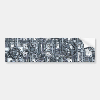 Steampunk Panel - Gears and Pipes - Steel Bumper Sticker
