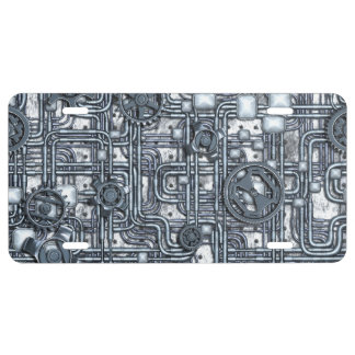 Steampunk Panel - Gears and Pipes - Steel License Plate
