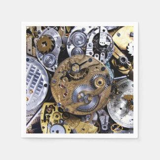Steampunk party Vintage Victorian Pocket watch Disposable Serviette