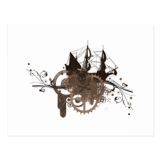 Steampunk pirate ship post cards