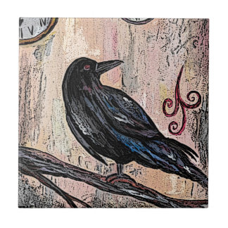 Steampunk Raven and Clocks Tile