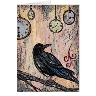 """Steampunk Raven with Clocks"" Card"