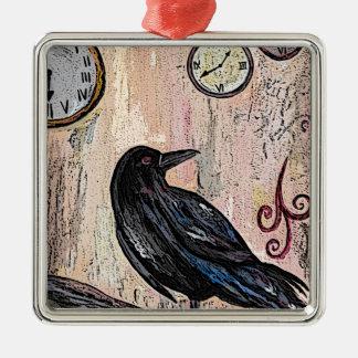 Steampunk Raven with clocks Metal Ornament