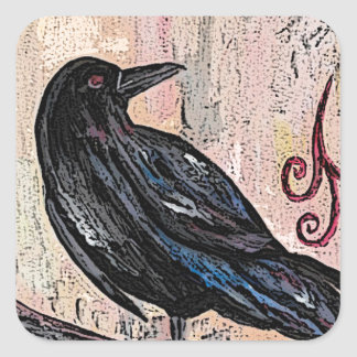 Steampunk Raven with Clocks Square Sticker