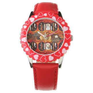 Steampunk red golden design wrist watch