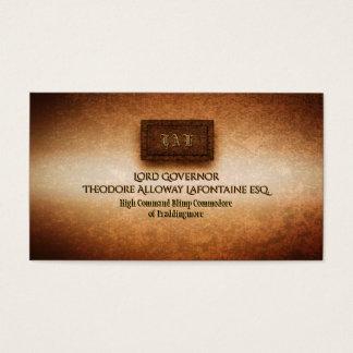 Steampunk rivetted grunge brass monogram plate business card