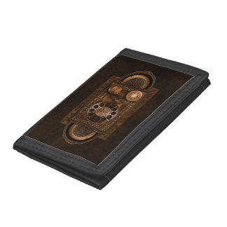 Steampunk Rotary Telephone Dial, Vintage, Brown Trifold Wallets