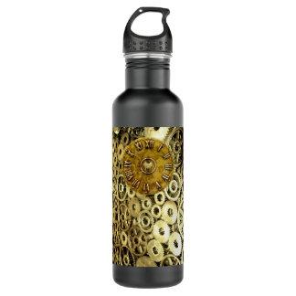 Steampunk rust machinery cogs brass clock 710 ml water bottle