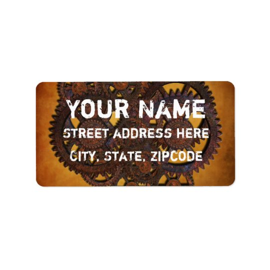 Steampunk Rusty Gears Address Label