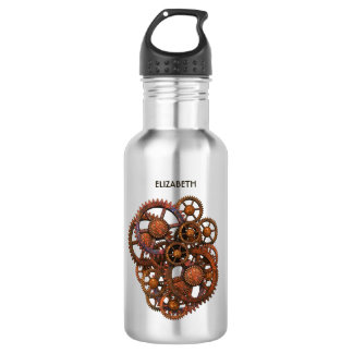 Steampunk Rusty Metal Gears With Shadows 532 Ml Water Bottle