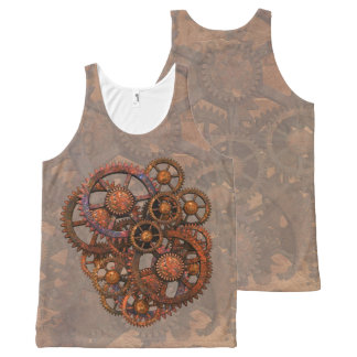 Steampunk Rusty Metal Gears With Shadows All-Over Print Singlet