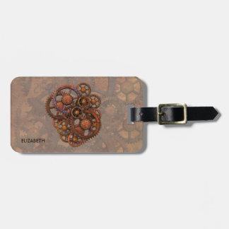 Steampunk Rusty Metal Gears With Shadows Luggage Tag