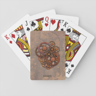 Steampunk Rusty Metal Gears With Shadows Playing Cards