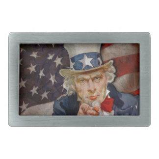 Steampunk Sam Patriotic US Flag Design Belt Buckles