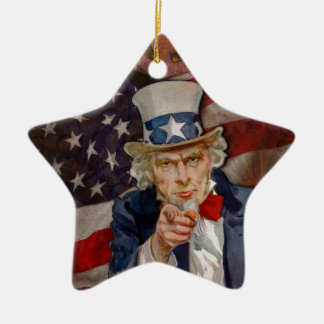 Steampunk Sam Patriotic US Flag Design Ceramic Ornament