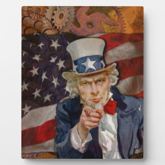 Steampunk Sam Patriotic US Flag Design Display Plaques