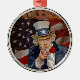 Steampunk Sam Patriotic US Flag Design Metal Ornament