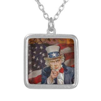 Steampunk Sam Patriotic US Flag Design Silver Plated Necklace
